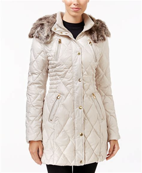laundry design coat laundry by design petite faux fur trim quilted puffer coat