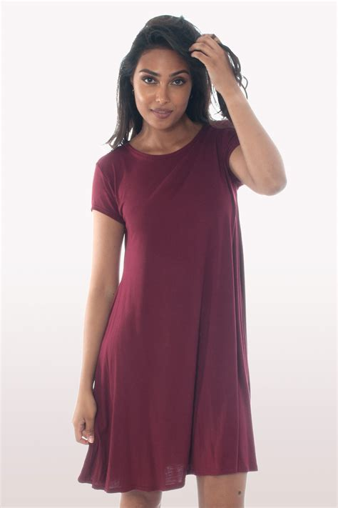 swing dress with sleeves wine short sleeve swing dress dresses modamore
