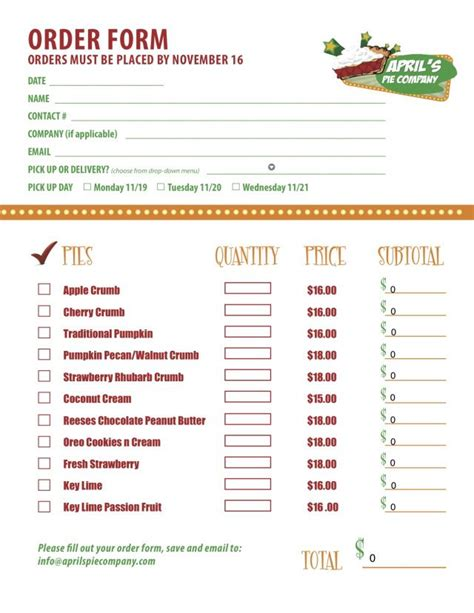 Part 2 Of A Custom Menu Order Form We Created For Delicious Restaurant Client April S Pie Restaurant Ordering Template