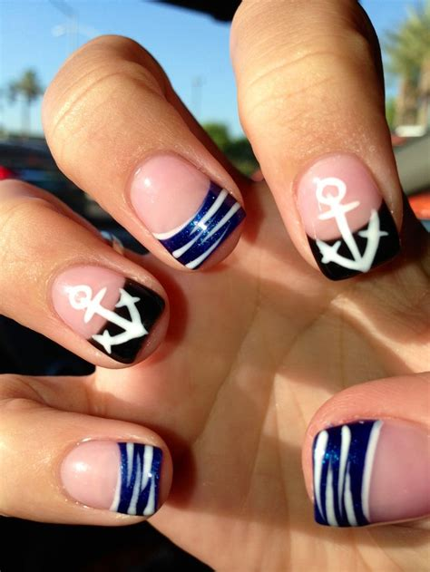 summer acrylic nail designs with anchor 25 best ideas about anchor nails on pinterest nautical