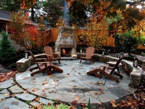 Backyard Vs Back Yard Flagstone Patio With Fireplace Pictures