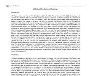 Of Mice And Setting Essay by Of Mice And Summary Gcse Marked By Teachers