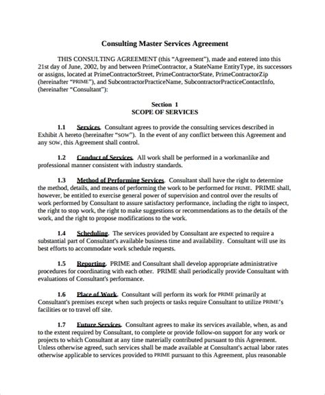 10 Consulting Service Agreements Sle Templates Consulting Services Agreement Template