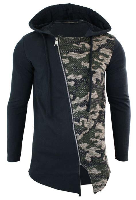 Top Hoddie Cross Tindik mens length cross zip longline camo top cardigan
