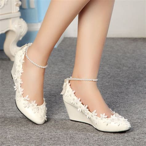 Ivory Wedding Shoes Wedge Heel by Fashion Lace White Ivory Wedding Shoes Bridal