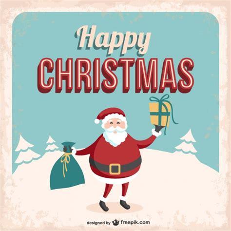 free christmas cards santa claus cards vintage christmas card with santa claus vector free download