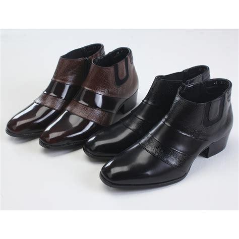 mens chic two tone high heel ankle boots