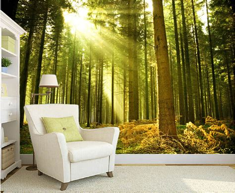 where to buy wall murals aliexpress buy custom nature wall murals the sun through the forest wall mural for the