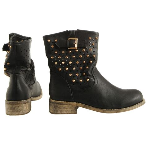 womens studded cut out cowboy western ankle boots uk sizes