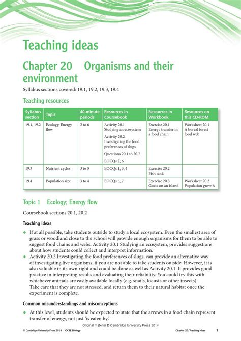 section 3 2 energy flow pages 67 73 cambridge igcse biology teacher s resource third edition