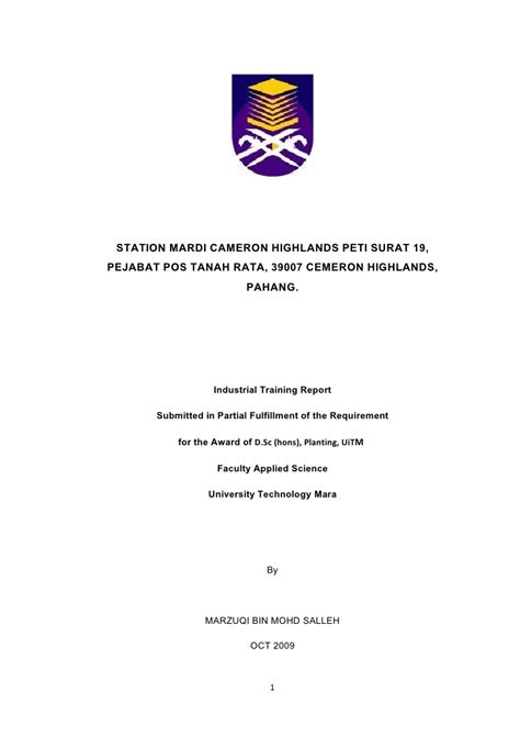 format research proposal uitm mardi report training