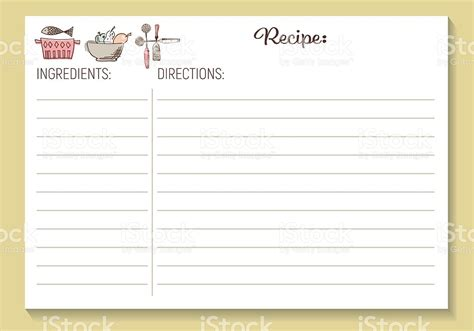 recipe card template search results for free printable recipe card template