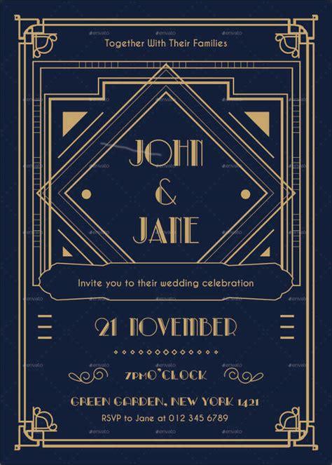 Art Deco Templates For Invitations | 10 art deco wedding invitations free psd vector ai