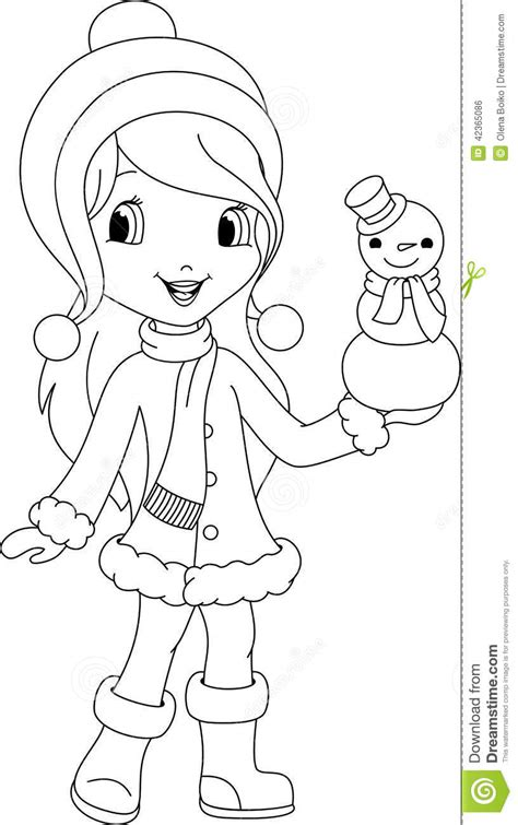kawaii winter coloring book a winter coloring book for adults and kawaii characters chibi winter and activities books and snowman coloring page stock vector image 42365086