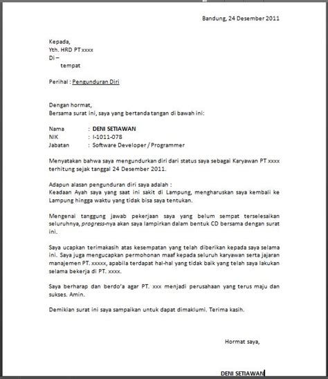 contoh surat pengunduran diri kerja terbaru kata kata