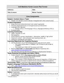 Madeline Hunter Lesson Plan Template   Template Design
