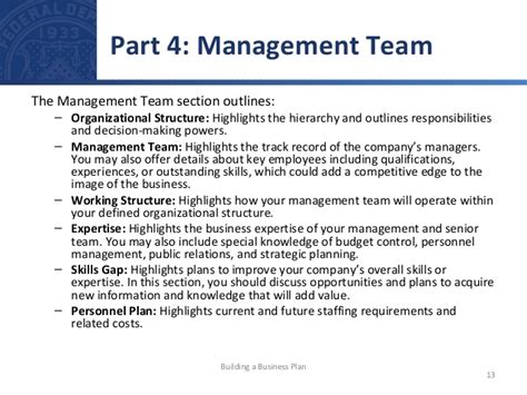 management section of business plan building a business plan