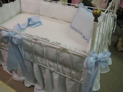 washed linen bedding washed linen crib bedding vintage white ruffled bumpers and