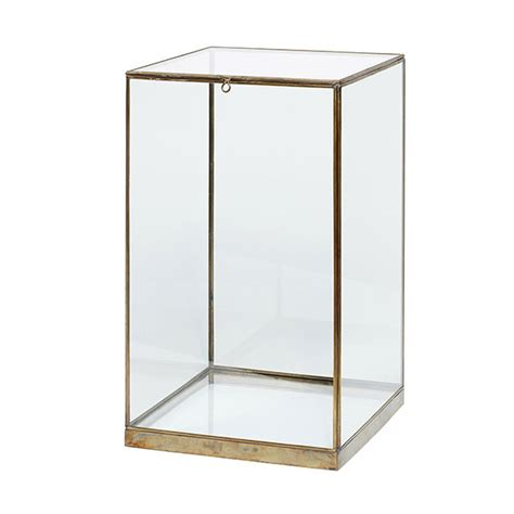 display small small glass and brass display cover dome with lid box 42