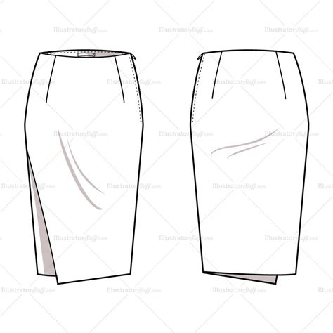 s asymmetrical pencil skirt fashion flat template