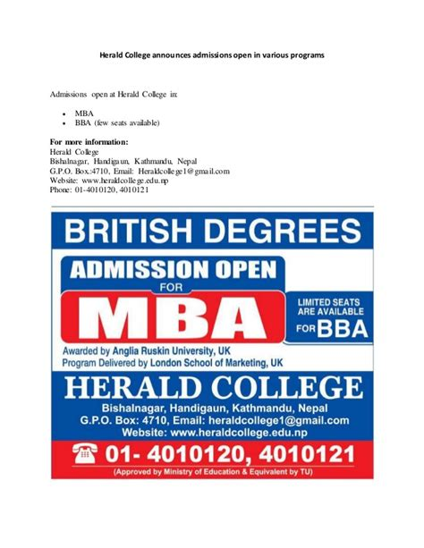 Various Mba Programs by Herald College Announces Admissions Open In Various Programs