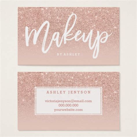 make up artist business card makeup artist typography blush gold business