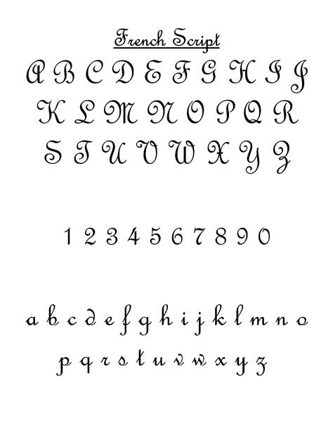 french script sample sheet