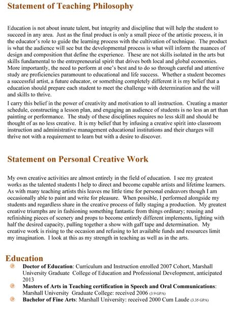 Teacher Resume Philosophy Statement Writingz Web Fc2 Com Teaching Philosophy Template