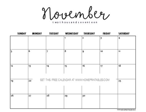 printable november 2017 calendar cute free november 2017 calendar printable pretty prints