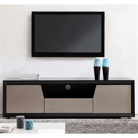 Dynamic Home Decor B Modern Bm 130 Blk Esquire 75 Quot Contemporary Tv Stand In Matte Black Stainless Steel