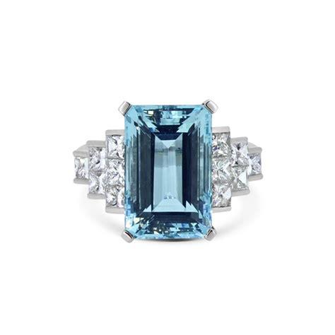 Octagon Aquamarine octagon aqua princess cut dress ring