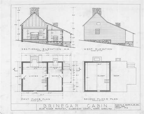 Cross Section West Elevation And Floor Plans Brinegar House Alleghany County