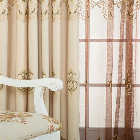 elegant curtains for bedroom light gold floral damask embroidery poly cotton blend
