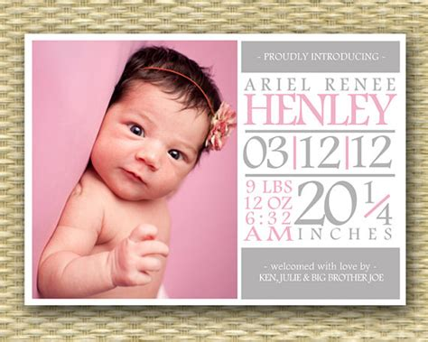 templates for birth announcements for a baby girl baby girl birth announcement subway art typography style baby