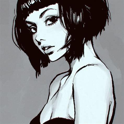 drawing of bob hair short hair girl drawing tumblr short bob hair