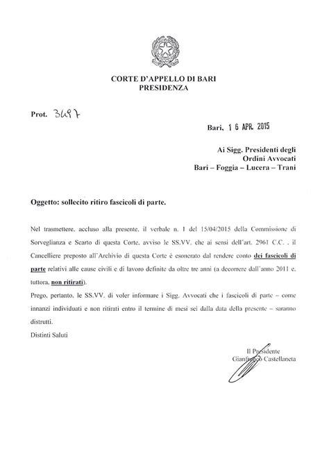 codice ufficio agenzia entrate bari corte d appello di bari distruzione fascicoli di parte