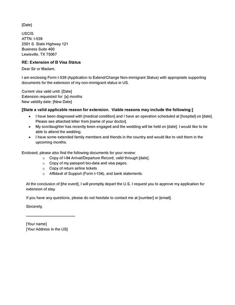 Letter Of Support For Visa Extension Template Visa Extension Cover Letter