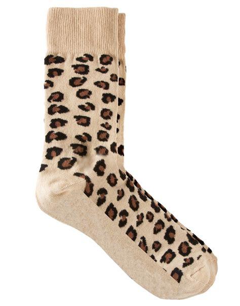 asos asos leopard print socks at asos