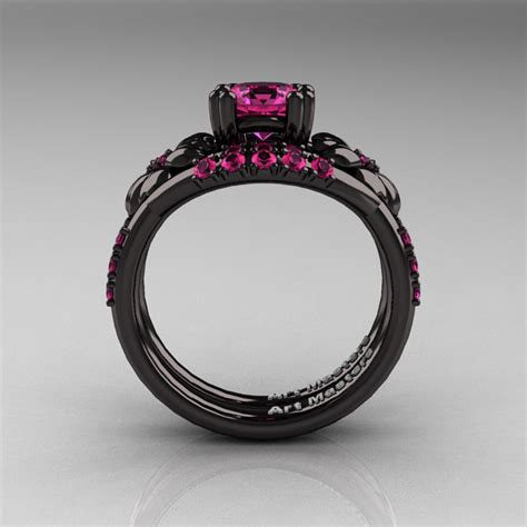 nature inspired 14k black gold 1 0 ct pink sapphire leaf