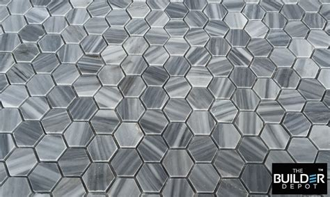 bardiglio gray honed 1 quot hexagon marble mosaic floor and