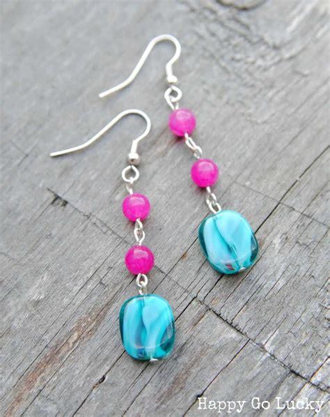 Bead Earring Designs Handmade - pink and teal handmade beaded earrings