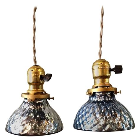 blue mercury glass pendant lights pair of petite blue mercury glass pendant lights with