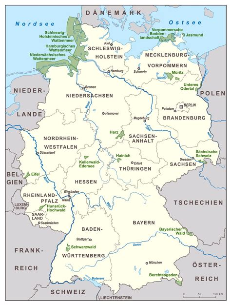 large map of germany large scale national parks map of germany germany