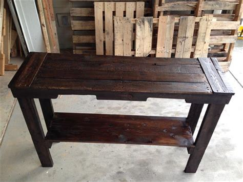 Entryway Stool Diy Rustic Stained Pallet Sofa Table And Entry Table