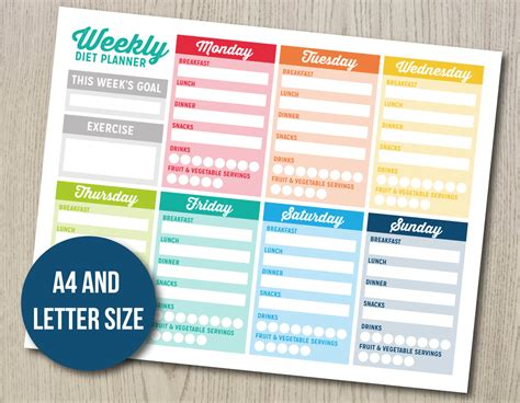 smart weight loss printable planner weekly diet planner bujo bullet journal printable