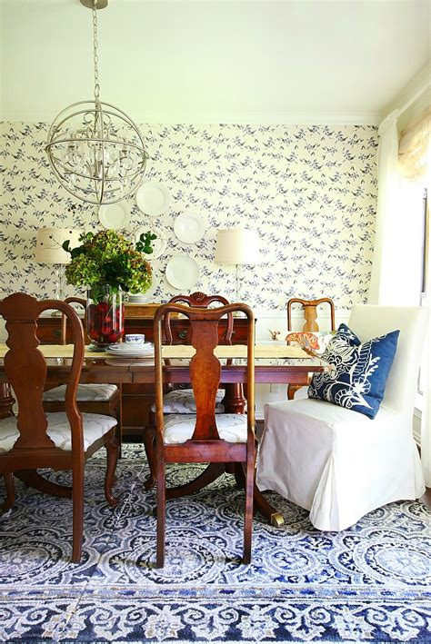 Blue And White Dining Room by A Summer In A Blue And White Dining Room