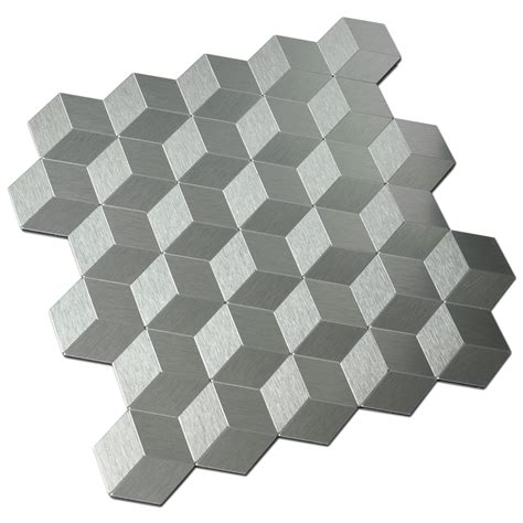 Set Tile Stick Hime peel stick metal backsplash for kitchen cubic silver
