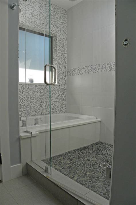 contemporary bathtub shower combo spring rain pebble tile shower pan pebble tile shop