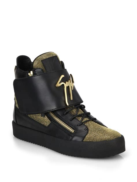 giuseppe high top sneakers lyst giuseppe zanotti leather metallic nailheads high