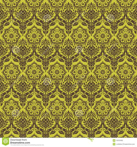 brown green pattern green brown floral damask seamless pattern stock